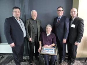 Guy Chartrand, Monsignor Dennis Murphy, Kirby Kranabetter, John Ruetz, and Louis Savoie